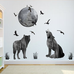 Removable Wall Sticker Forest Moon Wolf Decal Living Room Bedroom Home DIY Decor