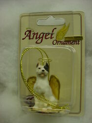 Pitbull Dog Angel Ornament Hand Painted Figurine Holiday White Puppy Pit Bull