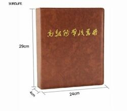 Home Decoration Leather Loose Leaves Paper Money And Coins Album Collection Book