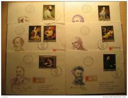 Hungary Painting Paint Gallery Budapest 6 Envelopes First Day Fdc Certified