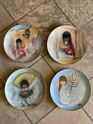 4 Vintage Numbered De Grazia Collectors Plates Ltd. Holiday And Children Series