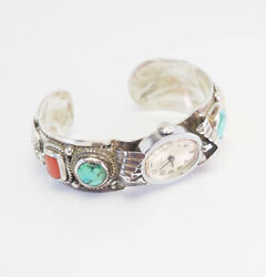 Heavy Signed Vintage Sterling Silver Turquoise Coral Times Watch Band Bracelet