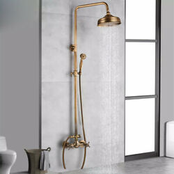 Exposed Shower Faucet Set 8 Rain Shower Head 2 Double Knobs Cross Handle System