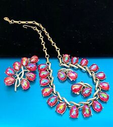 Fabulous Vintage Coro Parure Red Glass Cabochons Necklace Brooch Earrings