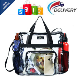 Clear Bag Stadium Approved Transparent Clear Tote Bag for Work Sports Games $22.49