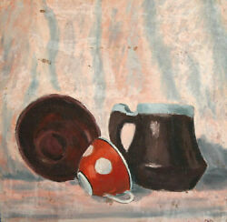 1986 Still Life With Jug Bowl And Cup Oil Painting Signed