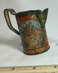 Antique Tin Miniature Toy Doll House Pitcher With Colorful Clown Motif