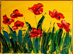 Poppies Impressionism  Contemporary Fine Art Original Painting Fast Shipping