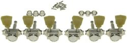 New 3x3 Vintage Locking Tuners For Les Paul 141 Ratio Nickel + Green Tulip