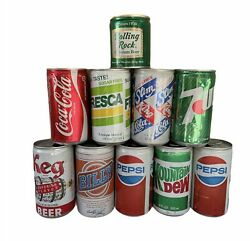 Lot Of 10 Vintage Empty Early Flat Top Pull Tab Soda And Beer Cans   Mixed