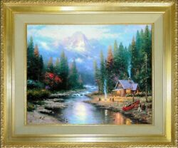 Thomas Kinkade End Of A Perfect Day Ii 24x30 S/n Antique Gold Frame