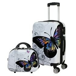 Butterfly 2 Piece Hardside Carry-on Spinner Luggage Set Durable Travel Buddy New