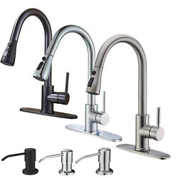 Kitchen Faucet Swivel Single Handle Sink Pull Down Sprayer With Cover Deck Mount
