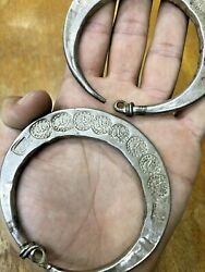 2 Rare Middle East Antique Silver Earring Libyan Ear Ornaments Ears Ring 900