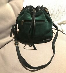 Green Suede Bucket Bag Excellent Used Condition AU $32.00