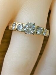 Genuine 14 Kt Yellow Gold 1.17 Ct Diamond Size 6.5 Engagement Ring
