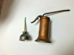 2 Vintage Oil Cans Eagle Swivel Pump Small Thumb Pump Can