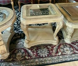 Antique Old World Sofa Coffee And 2x End Tables