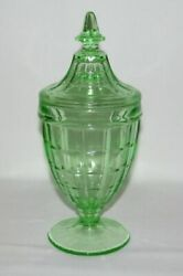 Hazel Atlas Glass Co. Colonial Block Green Footed Candy Dish With Cover