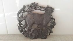 Vintage Pewter Walking Cat Scene Hot Stand Tray Trivet Footed 5 Pre-owned