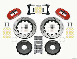 Wilwood Narrow Superlite 4r Front Hat Kit 14.00in Drill Red 2007-up For Jeep Wr
