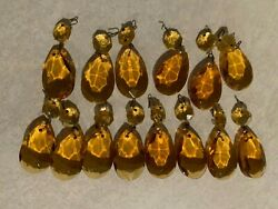 Victorian Lot Of 15 Amber Pendalogue Prisms 2and1/4 Inches Tall C1900s