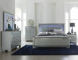 Glitzy 4 Pc Silver Gray Mirrored Led Lights Queen Bed N/s Dresser Bedroom Set