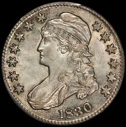1830 U.s. Capped Bust Silver Half Dollar Small 0 50 Cents Coin - Pcgs Au 58