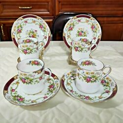 Rare Vintage Lot Of 8 Pcs Shelley Dubarry 13395, C1920 Coffee Cup Can And Saucer