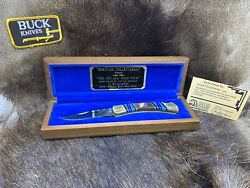 Buck 110 David Yellowhorse Wolf Pack Knife Mint With Coa And Wood Display Mint