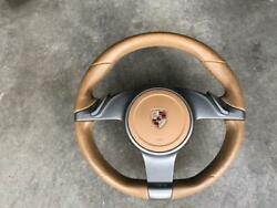 Porsche 997 And 987 Oem Factory Genuine Pdk F1 Sand Beige Leather Steering Wheel