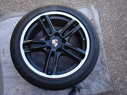 Porsche Oem, Factory Black And Silver Lip 19 Panamera Turbo Wheel And Tire Set
