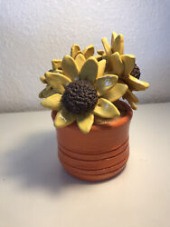 Andldquoflowers In A Potandrdquo Modern Artwork Pottery That Has Yellow Orange And Brown.