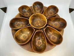 Vintage Boho Style Hand Carved Wooden Serving Tray And Snack Bowls On Lazy Susan