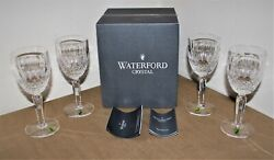 Waterford Crystal Box Of 4 Tall Colleen Claret Glasses 6oz - 6.5 Rare -nosnib