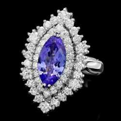 Real Solid 14k White Gold 2.00ct Marquise Cut Natural Tanzanite Diamond Ring