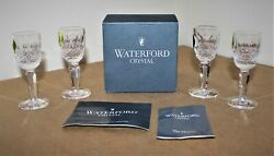 Waterford Crystal Box Of 4 Tall Colleen Liqueur Glasses Cordial 4 Rare-nos Nib