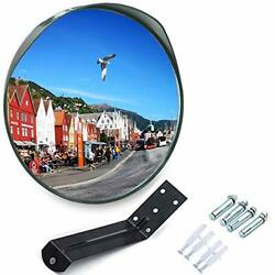 Meetwarm 24 Inch Convex Security Mirror Curved Safety Mirror With Adjustable Fix