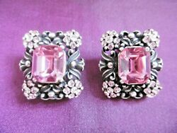 Lovely Vintage Askew London Silver Plated Paste Simulated Pink Sapphire Earrings