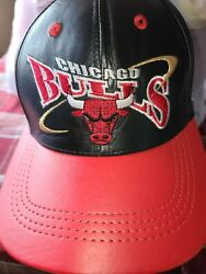 Vintage Rare 1996 Chicago Bulls Genuine Leather Hat By Nba Basketball
