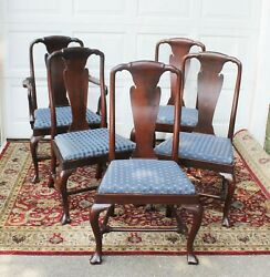 5 Antique Queen Anne Dining Room Chairs Highest Quality Stretcher Base