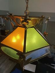 Vintage Hanging Leaded Stained Glass Swag Lamp - Amber Green Cream