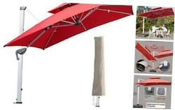 9 Ft Square Cantilever Umbrella With Waterproof Cover 9 X 9 Ft Square Red