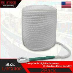 2pcs 1/2x300and039ft Twisted Dock Marine Line Boat Mooring Cord Anchor Rope W/thimble