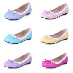 Women Lady Flat Casual Office Work Pumps Bowknot Slip On Loafers Shoes 44-54 D