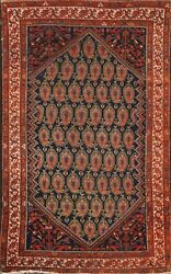 Antique Pre-1900 Vegetable Dye Hamedan Hand-knotted Area Rug Wool Oriental 5and039x7and039