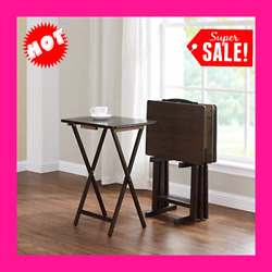 Farmhouse Tv Tray Folding Table Set With Stand 5-piece 4 Trays 1 Stand