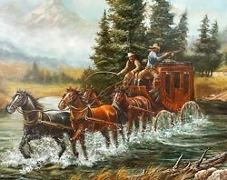 Antique American Western Cowboy Oil Painting O/c Stagecoach Chase River Martinez
