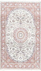 Floral Ivory Nain Wool And Silk Highlight Area Rug Handmade Oriental Carpet 5x8 Ft