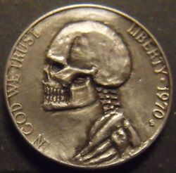 Hand Carved Hobo nickel skull Jeff unsigned free mail $42.50